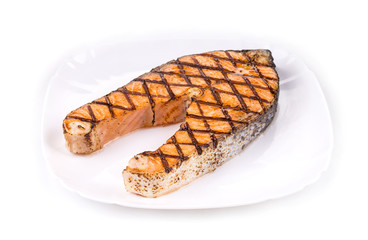 Crispy grilled salmon steak