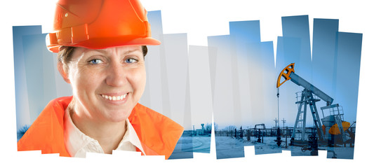 Engineer woman in an oil field. Collage composition.