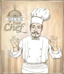Graphic illustration of chef cook showing okay.