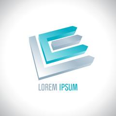 3D logo resembling letters L and E.