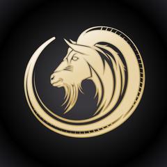 Gold goat logo.