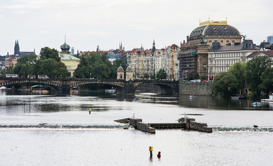 Vltava river, National Theatre and the Legion Bridge in Prague