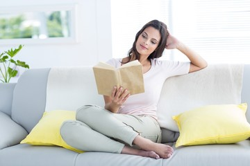 brunette relaxing and reading a book on the couch
