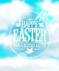 Happy Easter calligraphic design against blue sky.