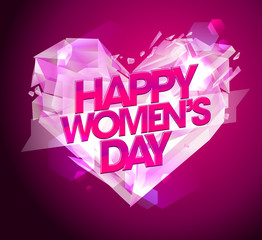 Women`s day card with diamond heart.