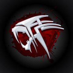 Steel tiger head against drop of blood art logo.
