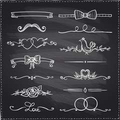 Chalkboard hand drawn graphic elements.