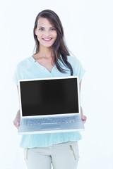 Beautiful woman showing her laptop