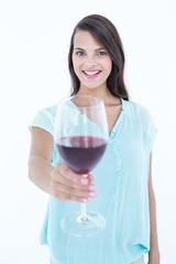 Pretty woman with red wine glass