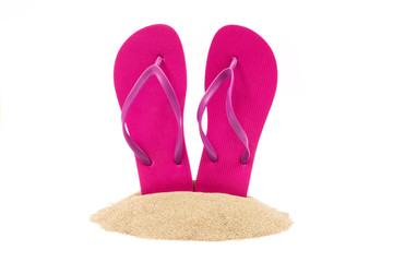Isolated flip flops on white background