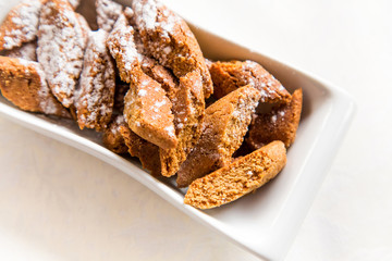 Cantucci biscuits flavored cinnamon with powdered sugar