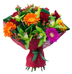 Bouquet of flowers in pink package