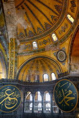 Interior of the Hagia Sophia with Islamic elements on the top of