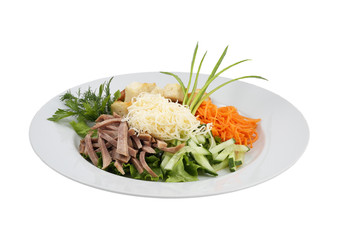Beef meat salad vegetables and grated cheese