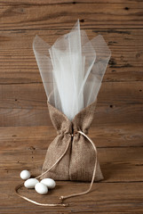 Wedding favor on old wooden table
