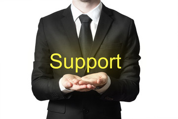 businessman in suit offering support hands open