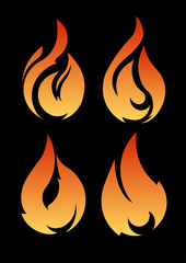 Set of 4 vector fires isolated on a black