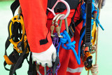 Fully rope access equipment on inspector man