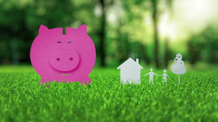 Pink piggy bank animation on green nice summer grass mortgage