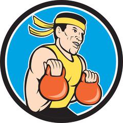 Strongman Lifting Kettlebell Circle Cartoon
