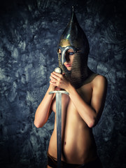 Girl Topless in medieval Eastern armor