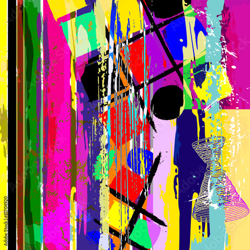 Aluminium Vormen abstract artwork, with strokes, splashes, stripes and circles