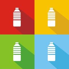 Icono botella de agua colores sombra