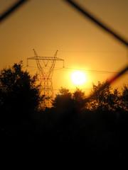Sunset pylon - Stock image