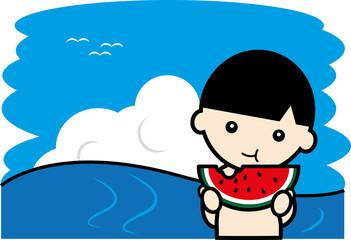 海ですいかを食べる