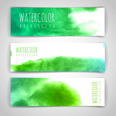 Set of green artistic watercolor backgrounds. Document template