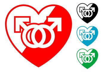 Pictograma corazon simbolo homosexual