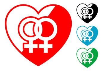 Pictograma corazon simbolo lesbico
