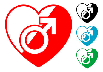 Pictograma corazon simbolo masculino