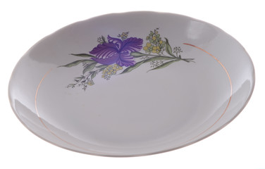 white plate with a flower