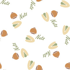 Nuts collection tileable texture vector. Suits for fabric.