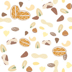 Nuts collection tileable texture vector. Suits for fabric print