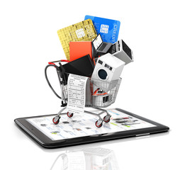 Online store. Large home appliances with a check in the shopping