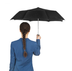 girl with an umbrella on a white background