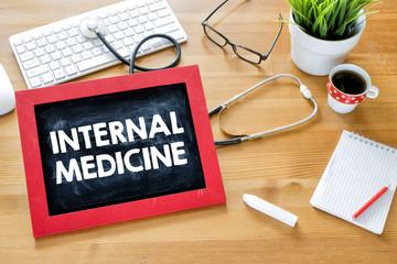 Handwritten internal-medicine on blackboard