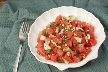 Refreshing watermelon, cucumber and mint salad.