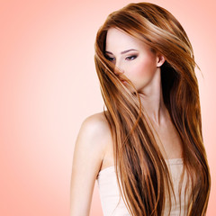 Woman with long straight hairs