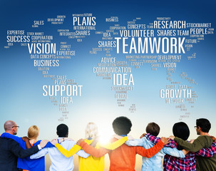 Global People Friends Togetherness Support Teamwork Concept