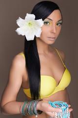 beautiful hawaiian woman with Flower