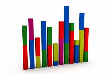 3d business statistics in white background