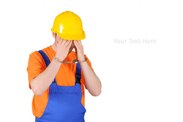 failure guilty laborer regretful criminal handcuffed hard hat