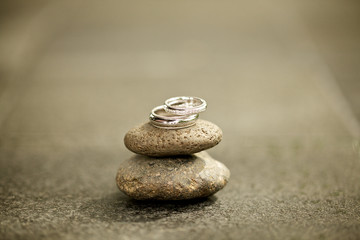 wedding ring on the stone
