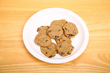 Plate of Oatmeal Raisin Cookies