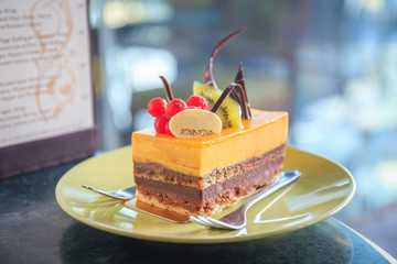 A cream cake with fruit