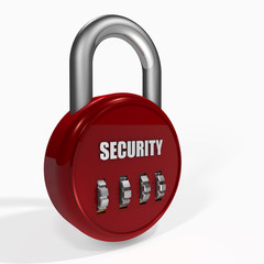 Red security Combination Padlock on a white background.