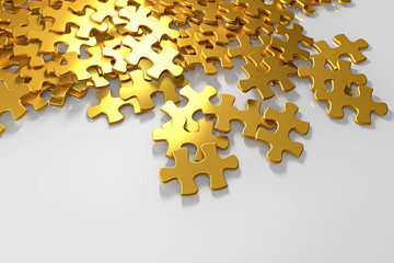 pile of gold puzzle elements scattered on the surface